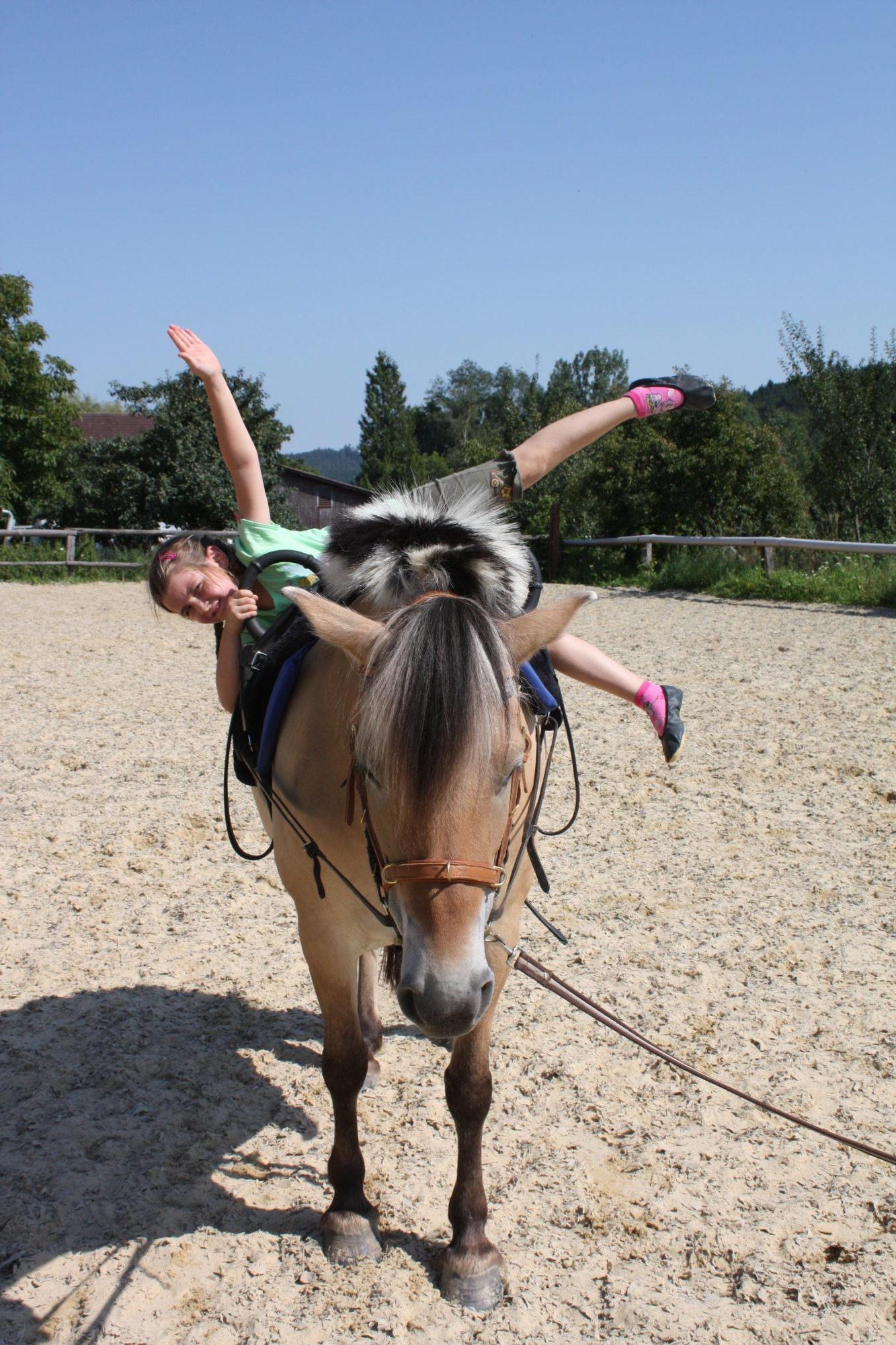 """Voltigieren im Kurs """"Erlebnis Pferd"""" Regensburg"""